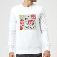 Image of Candlelight Acrylic Painted Flowers Sweatshirt - White - L - White