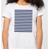 Candlelight Blue Line Pattern Women's T-Shirt - White - XS - White