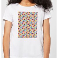 Candlelight Funky Colourful Square Checkered Pattern Women's T-Shirt - White - S - White