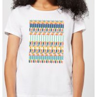 Candlelight Funky Colourful Three Dimensional Checkered Pattern Women's T-Shirt - White - XXL - White - Funky Gifts