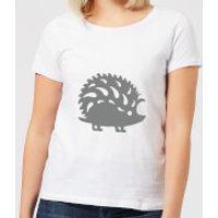 Candlelight Folk Silhouette Hedge Hog Cutout Women's T-Shirt - White - XXL - White