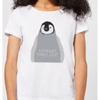 Candlelight Baby Penguin Lets Just Chill Out Women's T-Shirt - White - M - White - Penguin Gifts