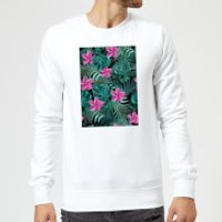 Candlelight Dense Jungle Scene Sweatshirt - White - XL - White
