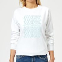 Candlelight Cartoon Pansy Repeat Pattern Women's Sweatshirt - White - XL - White - Cartoon Gifts