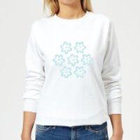 Candlelight Cartoon Pansy Burst Women's Sweatshirt - White - 5XL - White - Cartoon Gifts