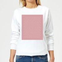 Candlelight Hand Drawn White Love Heart Repeat Pattern Women's Sweatshirt - White - XL - White