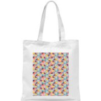 Funky Colourful Square Checkered Pattern Tote Bag - White - Funky Gifts