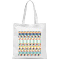 Funky Colourful Three Dimensional Checkered Pattern Tote Bag - White - Funky Gifts
