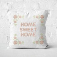 Home Sweet Home Cross Stitch Square Cushion - 60x60cm - Soft Touch