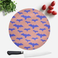 Blue And Coral Bat Pattern Round Chopping Board - Coral Gifts