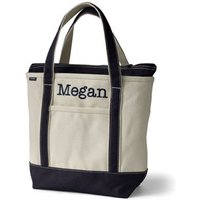 Medium Zip Top Canvas Tote Bag, Women, Ivory, Cotton, by Lands' End