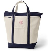 Large Zip Top Canvas Tote Bag, Women, Ivory, Cotton, by Lands' End
