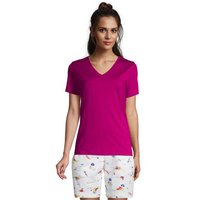 Supima Short Sleeve V-neck T-shirt, Women, Size: 8 Regular, Purple, Cotton, by Lands' End