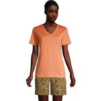 Supima Short Sleeve V-neck T-shirt, Women, Size: 10-12 Regular, Orange, Cotton, by Lands' End