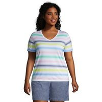 Supima Short Sleeve V-neck T-shirt, Women, Size: 28-30 Plus, White, Cotton, by Lands' End