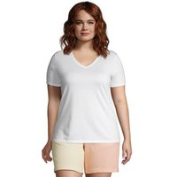 Supima Short Sleeve V-neck T-shirt, Women, Size: 24-26 Plus, White, Cotton, by Lands' End