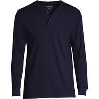 Super-T Henley Long Sleeve T-shirt, Men, Size: 46-48 Regular, Blue, Cotton, by Lands' End