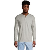 Super-T Henley Long Sleeve T-shirt, Men, Size: 46-48 Regular, Grey, Cotton, by Lands' End
