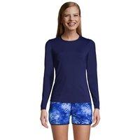 Long Sleeve Rash Vest, Women, Size: 8 Long, Blue, Nylon-blend, by Lands' End