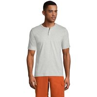 Super-T Henley Short Sleeve T-shirt, Men, Size: 38-40 Regular, Grey, Cotton, by Lands' End