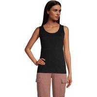 Cotton Vest Top, Women, Size: 14-16 Regular, Black, by Lands' End