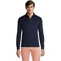 Long Sleeve Supima Polo Shirt, Tailored Fit, Men, Size: 38-40 Regular, Blue, Cotton, by Lands' End