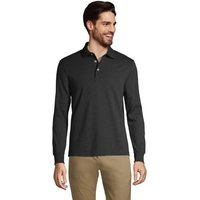 Long Sleeve Supima Polo Shirt, Tailored Fit, Men, Size: 46-48 Regular, Black, Cotton, by Lands' End
