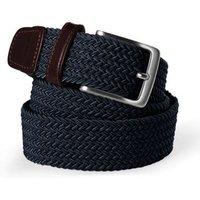 Plaited Elastic Belt, Men, Size: S Blue, Leather, by Lands' End