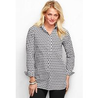 Patterned Supima Non-Iron Tunic, Women, Size: 8 Regular, Black, Cotton, by Lands' End