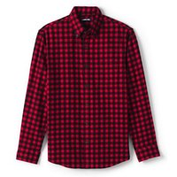 Flannel Shirt, Tailored Fit, Men, Size: 38-40 Regular, Black, Cotton, by Lands' End