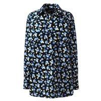 Print Supima Non-Iron Tunic, Women, Size: 10 Regular, Blue, Cotton, by Lands' End
