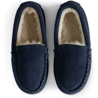 Moccasin Slippers, Kids, Size: 11 Boy, Blue, Suede, by Lands' End