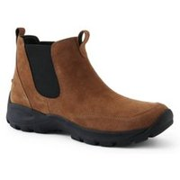 Everyday Suede Chelsea Boots, Men, Size: 7.5 Regular, Brown, by Lands'End, Burnt Camel