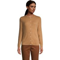 Classic Cashmere Crew Neck Cardigan, Women, Size: XS Petite, Brown, by Lands'End, Vicuna Heather