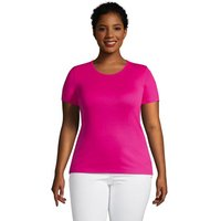Cotton Rib Crew Neck T-shirt, Women, Size: 20-22 Plus, Pink, by Lands' End
