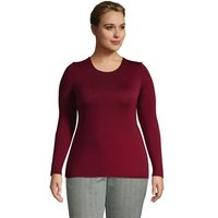 Long Sleeve Cotton-modal Crew Neck T-shirt, Women, Size: 20-22 Plus, Red, by Lands' End