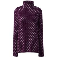 Cotton-modal Print Roll Neck, Women, Size: 10-12 Regular, Purple, by Lands' End