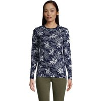 Supima Long Sleeve Crew Neck T-shirt, Women, Size: 20 Regular, Blue, Cotton, by Lands' End