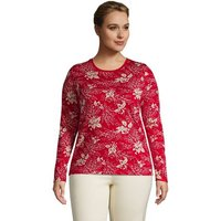 Supima Long Sleeve Crew Neck T-shirt, Women, Size: 28-30 Plus, Red, Cotton, by Lands' End