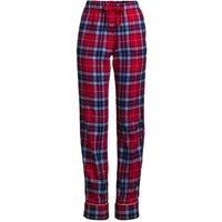 Plaid Flannel Pyjama Bottoms, Women, Size: 20-22 Plus, Red, Cotton, by Lands' End