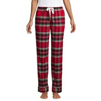 Plaid Flannel Pyjama Bottoms, Women, Size: 14-16 Regular, Red, Cotton, by Lands' End