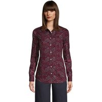 Print Non-iron Supima Shirt, Women, Size: 12 Regular, Red, Cotton, by Lands' End