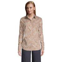 Print Non-iron Supima Shirt, Women, Size: 14-16 Petite, Brown, Cotton, by Lands' End