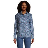 Print Non-iron Supima Shirt, Women, Size: 10 Regular, Blue, Cotton, by Lands' End