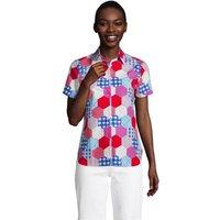 Print Supima Non-iron Short Sleeve Shirt, Women, Size: 8 Regular, Red, Cotton, by Lands' End