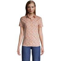 Print Supima Non-iron Short Sleeve Shirt, Women, Size: 14 Regular, Orange, Cotton, by Lands' End
