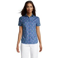 Print Supima Non-iron Short Sleeve Shirt, Women, Size: 24 Plus, Blue, Cotton, by Lands' End