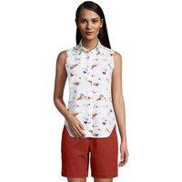 Supima Non-Iron Sleeveless Shirt, Women, Size: 14 Petite, White, Cotton, by Lands' End