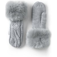 Braided Cable & Fur Mittens, Black