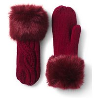 Braided Cable & Fur Mittens, Red